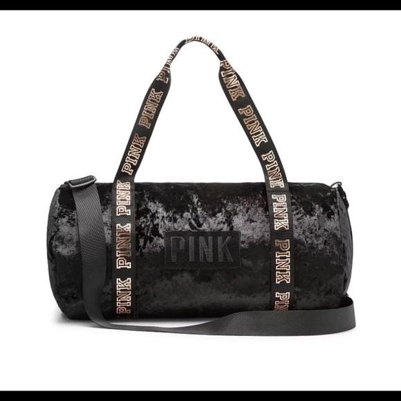 90a70c7d13ca1 Victoria's Secret pink velvet duffle bag NWT